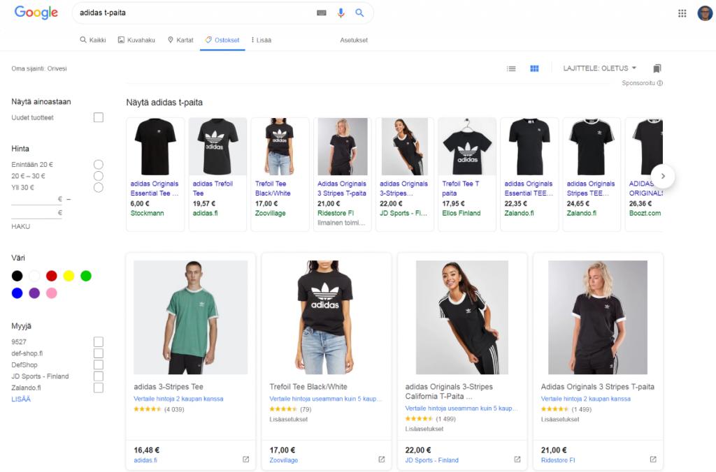 Google Shopping - Ostokset-välilehti