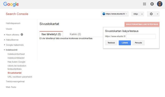 Google Search Console sivustokartan lähetys