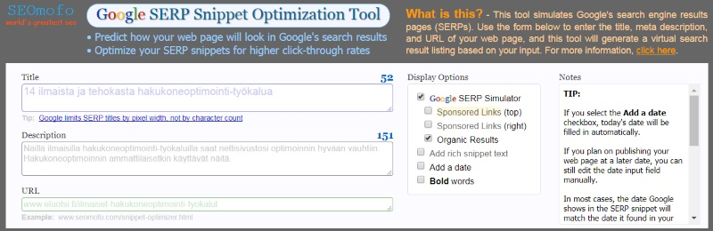 SEOmofo SERP snippet optimizer